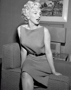 alwaysmarilynmonroe: Marilyn in her dressing room at a press...