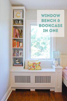 Quaint Window Bench With A Side Bookshelf