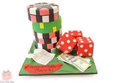 Poker fan? Like to place big bets?  This birthday cake was for a casino aficionado and included poker chips, betting tickets, $100 bills and 3 red dice. #casino #specialty #cake