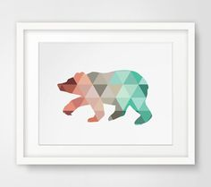 Mint & Coral Bear Print Bear Wall Art by MelindaWoodDesigns, $5.00