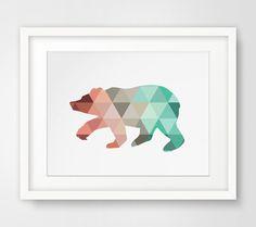 Mint & Coral Bear Print Bear Wall Art by MelindaWoodDesigns, $5.00
