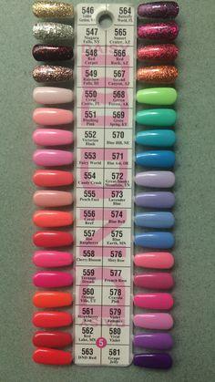 DND Daisy Gel Polish Color Sample Chart Palette Display NEW 5 nail polish colors - Nail Polish Bright Summer Acrylic Nails, Spring Nail Colors, Cute Acrylic Nails, Cute Nails, Coral Gel Nails, Periwinkle Nails, Fake Gel Nails, Dark Pink Nails, Peach Nails
