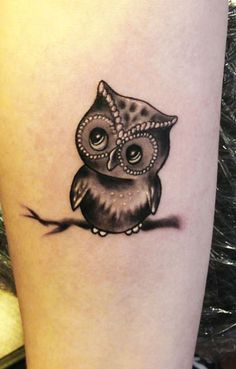 Cute Black Ink Small Owl Tattoo Design For Sleeve