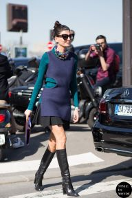 Giovanna Battaglia of Vogue Japan before Céline fashion show. Shop this look (or similar) here: Top: PROENZA SCHOULER ribbed tank top // J.W. ANDERSON asymmetric ribbed knit top // PROENZA SCHOULER ribbed tank top Skirt: MARC BY MARC JACOBS pleated mini skirt Boots: GUCCI Horsebit-detailed leather