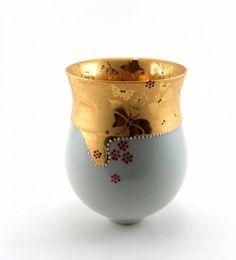 """All that is sublime"": Vessel, 15cmx12cm, porcelain, celadon, sand etched, gold, enamel by Joanna Demaine."