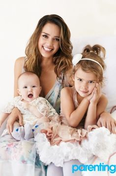 Jessica Alba with her girls for Parenting magazine
