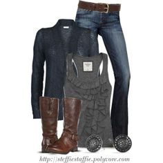 """Blue, Gray & Brown"" by steffiestaffie on Polyvore"