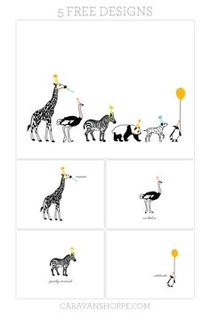 Print your own Party Animals Notecards