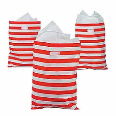 Red & White Striped Treat Bags - oriental trading