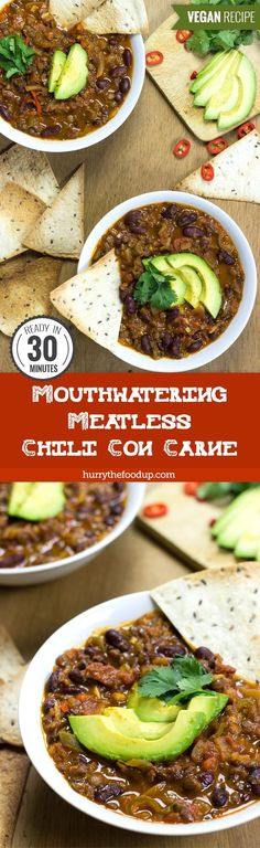 Mouthwatering Meatless Chili Con Carne (vegan) #veggie #chili #concarne | http://hurrythefoodup.com
