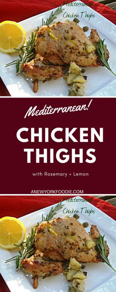 Mediterranean Chicken Thighs have the delicious flavors of the Mediterranean. Savory chicken thighs with extra virgin olive oil, lemon, rosemary, oregano and other wonderful Mediterranean flavors. Chicken Menu, Chicken Spices, Chicken Thigh Recipes, Yummy Chicken Recipes, Yum Yum Chicken, Turkey Recipes, Mediterranean Chicken, Mediterranean Diet Recipes, Clean Eating Recipes