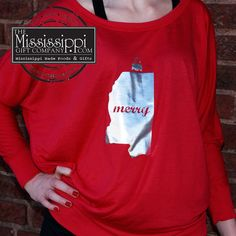 Show your Mississippi love with this exclusively designed for The Mississippi Gift Company long sleeved tee! This joyful design is sure to put you in the Christmas Spirit. www.TheMississippiGiftCompany.com