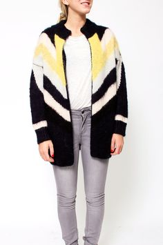 This beautiful knitted cardigan in rib trim pattern contains mohair, a luxury material in line with silk and cashmere - and it is especially famous for its special sheer and insulating qualities. Style tip: match with a body clinging dress and leather shoes for a trendy and feminine look. By Selected Femme.