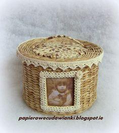 To co robię i co lubię: Papierowa wiklina-okrągły koszyk ze zdjęciem