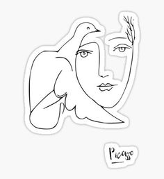 Pegatina picasso // chica y paloma Brand Stickers, Meme Stickers, Picasso Dove Of Peace, Wolf Children, Picasso Art, Aesthetic Stickers, Overlays, Funny Lady, Doodles
