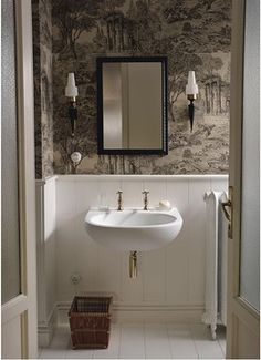 What do you think of this #vintage #style #wallpaper in this pretty little #cloakroom?  #White #Metallic #Wood #Panelling #Design #Inspiration #InteriorDesign #StJamesDesign