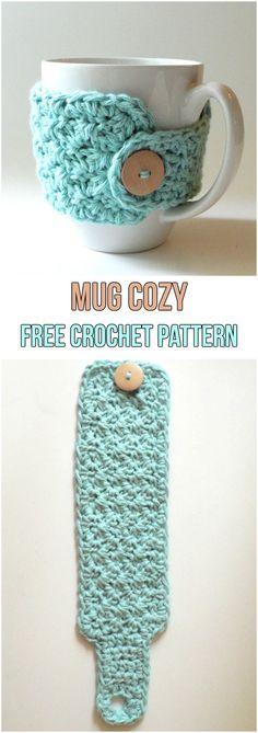 Mug Cozy Free Crochet Pattern #freepattern #crochet #crochetpattern #cozy #coffee #diy #handmade #homemade #yarn #button #mug #blue