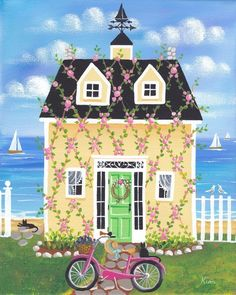 Rose Vines Cottage Folk Art Print by KimsCottageArt on Etsy