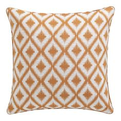 Made in USA! Ibiza Mango pillow from Crate & Barrel. Textural ikat motifs are woven in soft orange and cream to create a striking decorative effect. Generous square pillow is reversible with matching piping