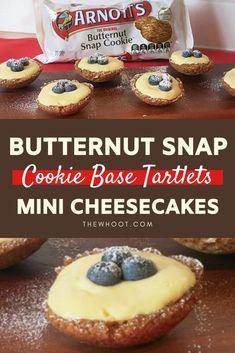 Butternut Snap Cheesecake Tartlets Recipe - The WHOot Milk Recipes, Lemon Recipes, Sweet Recipes, Baking Recipes, No Cook Desserts, Mini Desserts, Delicious Desserts, Yummy Food, Easy Cheesecake Recipes