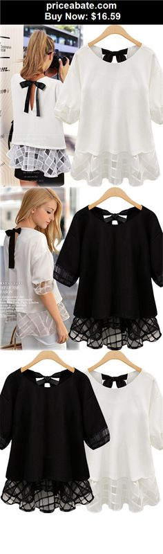 Women-Tops-And-Blouses: Fashion Women Casual Sheer Short Sleeve Tops Blouse Lace Chiffon Shirt Plus Size - BUY IT NOW ONLY $16.59