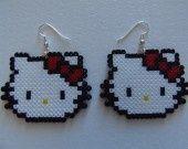 Hello Kitty earrings hama mini beads by  lenuagegourmand