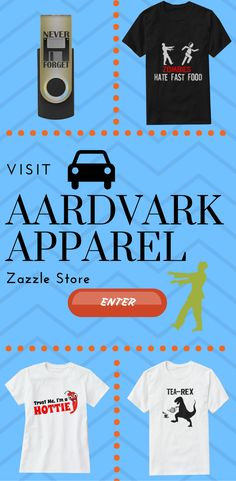 Get hilarious and funny design on t-shirts and other Product from Aardvark Apparel Zazzle Store.