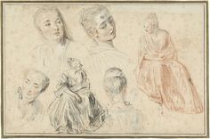 Four Studies of a Woman's Head and Two of a Seated Woman, Jean Antoine Watteau, 1705 - 1721