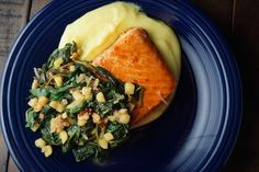 Maple Soy Glazed Salmon, Sauteed Spinach with Apples, Shallots, and Walnuts, and Mashed Potatoes | Wisconsin from Scratch
