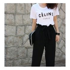 Tee style with high waist black trouser. Style
