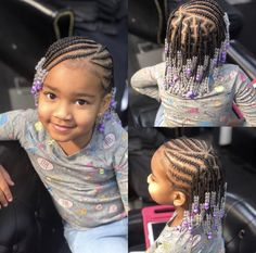 Toddler Braided Hairstyles, Lil Girl Hairstyles, Cute Hairstyles For Kids, Natural Hairstyles, Prom Hairstyles, Cornrow Styles For Girls, Kid Braid Styles, Hair Styles, Kids Braids With Beads