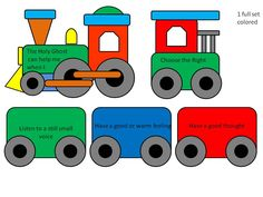 Primary 3 (pink book). CTR B ages 4-7, lesson 12. Train activity (Holy Ghost can help us) lesson 26