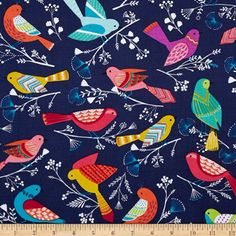 Michael Miller Flock Birds Navy Fabric Michael Miller