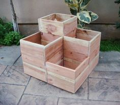 "Flower planter, garden planter, Redwood, 4 compartments for various plants and flowers: ""Double Jewel"", 24 x 24 x 18 inch"