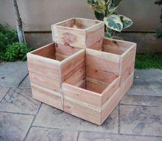 Flower planter garden planter Redwood 4 by RedCedarWoodcraft, $195.00