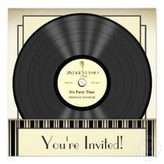 Shop Vintage Microphone Vinyl Record Party Invitations created by Specialeetees. Personalize it with photos & text or purchase as is! Music Themed Parties, Music Party, Invitation Cards, Party Invitations, Vinyl Music, 50th Birthday Party, Birthday Ideas, Vintage Vinyl Records, Wedding Invitations