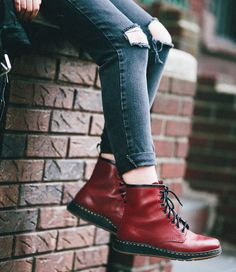 The Newton boot in cherry red, from the new #DMsLITE range. Worn by Luanna.