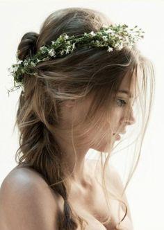 messy braid w/ flower crown.
