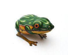 Got this toy too!!  Vintage German Tin Frog,  Wind Up Toy, 1940s Made in US Zone Germany