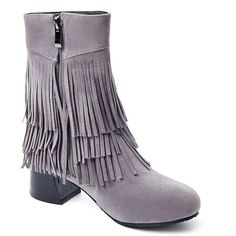 Fringe Chunky Heel Ankle Boots #>=#>=#>=#>=#> Click on the pin to check out discount price, color, size, shipping, etc. Save and like it!