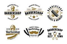 Retro Set of Barbershop Emblem Logo Badge - Design Template Place Badge Template, Logo Templates, Badge Design, Logo Design, Identity Design, Barber Logo, Joe Barber, Modern Barber Shop, Emblem Logo