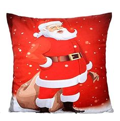 Christmas Decor Mallcat Christmas Pillow Case Cushion Cover Red 3 ** For more information, visit image link.