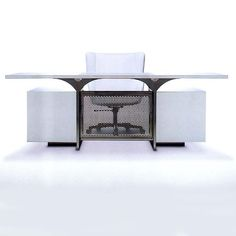 ANJAY Desk ; Stainless Steel and Imron. Manufactured by Brueton.... Designed by; Stanley Jay Friedman.