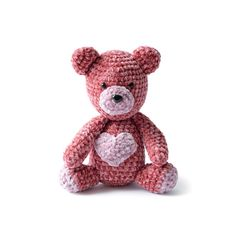 Yarnspirations is the spot to find countless free crochet patterns, including the Bernat Velvet Valentine Crochet Bear. Browse our large free collection of patterns & get crafting today! Crochet Teddy Bear Pattern, Crochet Bunny, Cute Crochet, Crochet Dolls, Crochet Animals, Kids Crochet, Crochet Ideas, Crochet Blanket Patterns, Knitting Patterns