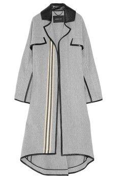 DEREK LAM  Blanket-stripe wool-blend and leather coat