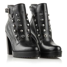 Diesel CREEP-DEEP D-ZANA Dress Shoes ($180) ❤ liked on Polyvore featuring shoes, boots, ankle booties, black, leather boots, leather high heel boots, black high heel ankle booties, black high heel booties and black ankle booties
