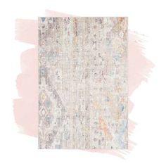 Ophelia & Co. Aldora Gray Area Rug & Reviews | Wayfair Cream Curtains, Grey And White Rug, Gray, Farmhouse Area Rugs, Rustic Living Room Furniture, Basement House, Curtain Accessories, Cream Area Rug, Rug Size