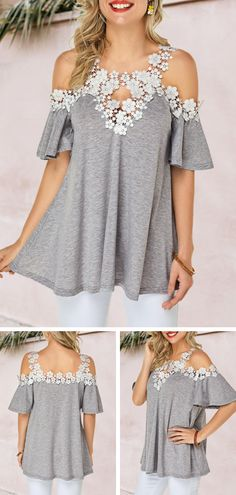 Buy trendy tops for women online with competitive price, ladies tops, cute women tops online store. Trendy Tops For Women, Stylish Tops, Casual Tops, Look Fashion, Fashion Outfits, Womens Fashion, Ladies Dress Design, Ideias Fashion, Summer Outfit