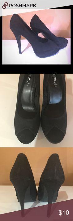 Black peep toe heels Black, faux suede, peep toe, high heeled, stilettos Divided Shoes Heels