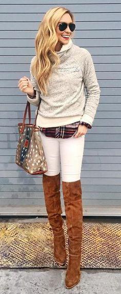 #winter #outfits / Cream Turtleneck // White Skinny Jeans // Tartan Plaid Shirt // Camel OTK Boots